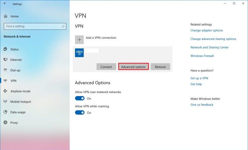 VPN settings on Windows 10