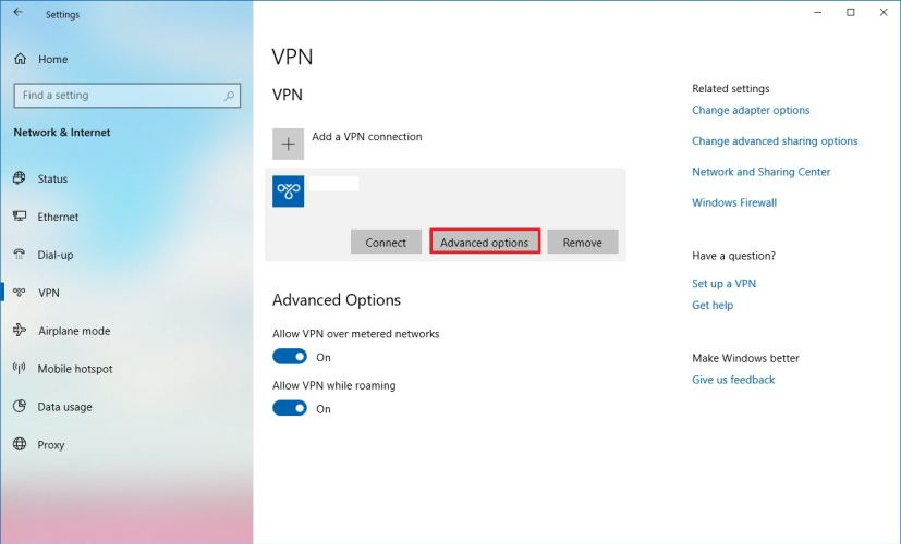 VPN settings on Windows 10