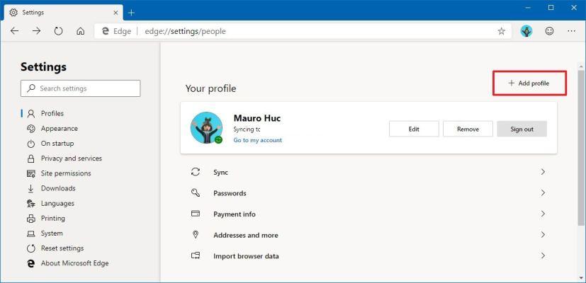 Microsoft Edge Chromium adding new profile
