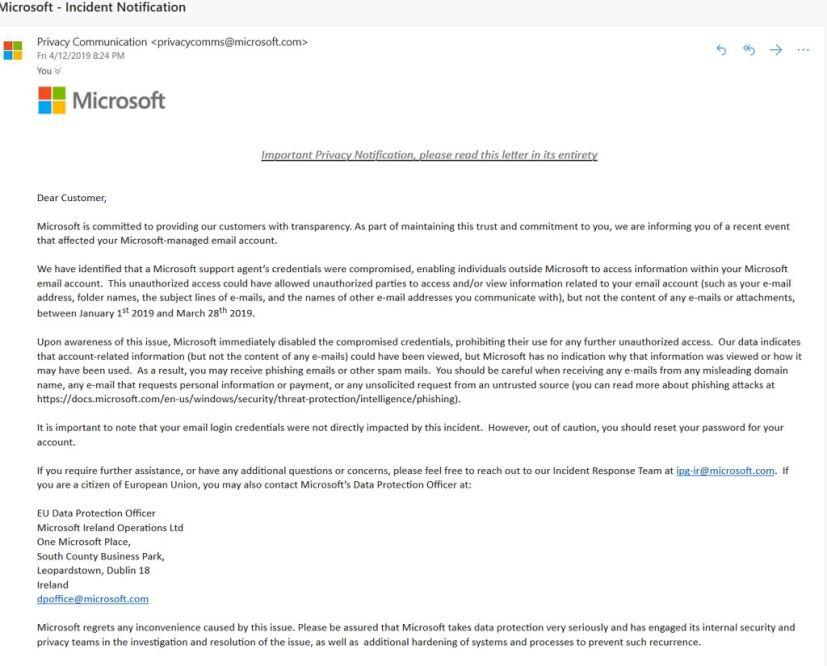 Microsoft Outlook breach statement, source Reddit (@Keats852)