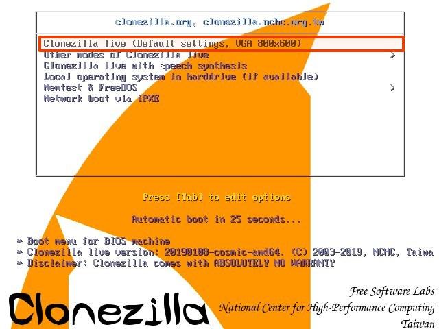 Clonezilla boot page