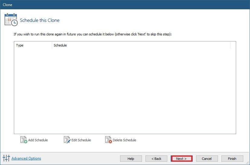 Macrium Reflect clone schedule settings