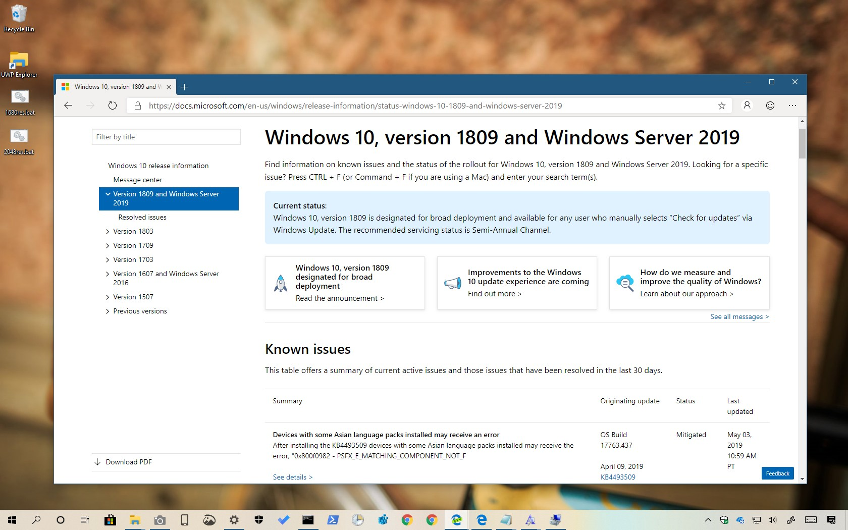 Windows 10 release health dashboard