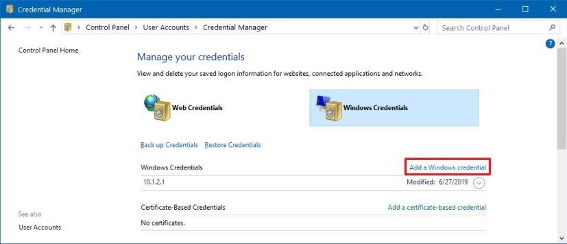 Add Windows Credential option