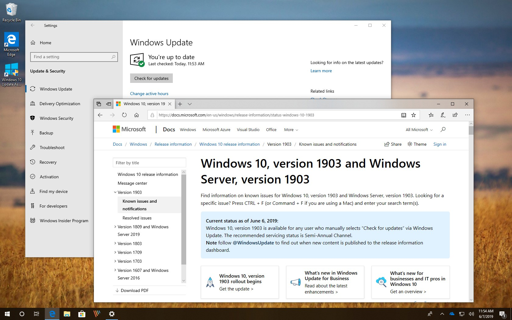 Windows 10 version 1903 fully available notice