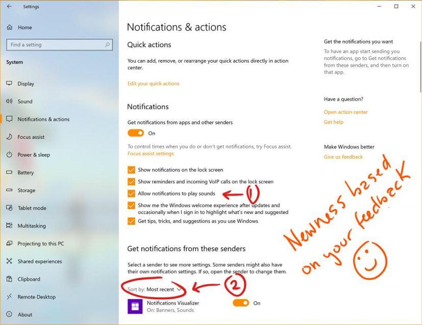 Notification sorting on Windows 10 20H1
