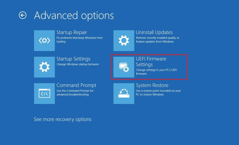 UEFI option on Advanced Startup settings for Windows 10