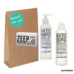 Cadeaupakket met handzeep, douchegel en zeep met een craft geschenkverpakking met opdruk speciaal voor jou