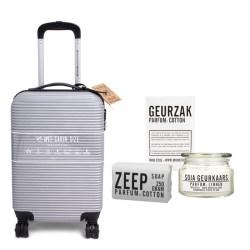 koffer zilver grijs met cadeaupakket van mijn stijl