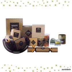 Kerstpakket in goud tinten met waterbol purelabels