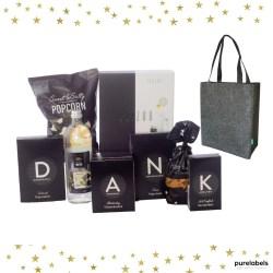 Kerstpakket met fairtrade tas, Janzen verzorgingscadeauset en lekkere eetproducten