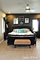 Love the dark and light mixed with a splash of color with the pillow.