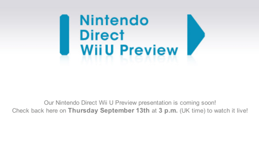 Wii U Nintendo Direct EU/UK – Sep. 13 at 3pm UK Time