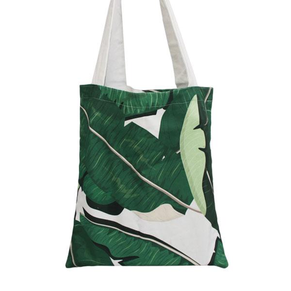 Pure Designer Products botanical banana leaf Bull Denim Tote Bag