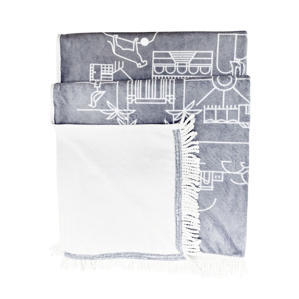 Pure Designer Products Cape Town illustration towel grey with tassels folded