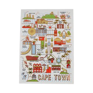 Pure Designer Products foiled Cape Town Illustration A6 postcard front