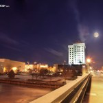 march moonrise over downtown saginaw mi