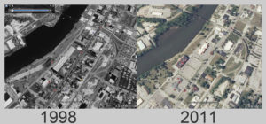 Washington Ave. medical District from 1998 to 2011, in the black and white from 1998 you can see the old Mitts and Merrill factory