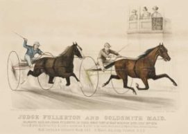 Currior and Ives lithograph of Goldsmith Maid setting the worlds record in Saginaw