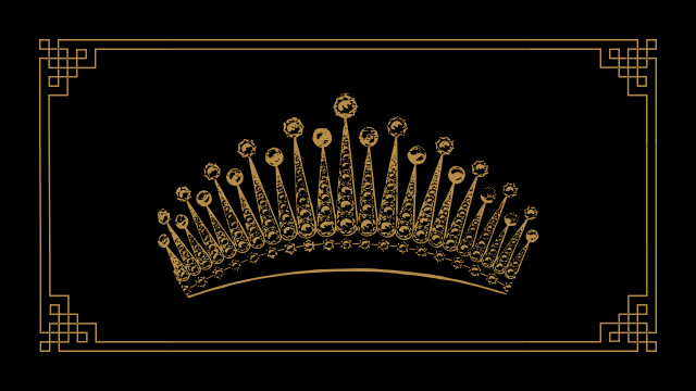 A golden art-deco crown on a black background.