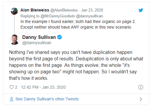 Twitter conversation between Alan Bleiweiss and Danny Sullivan on deduplication