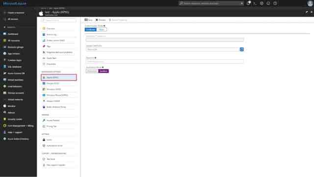 Azure portal menu