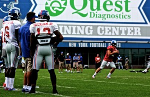 Odell Beckham Jr. looks on as Giants hold first full contact practice Sunday.  Credit: (Bobby O'Hara/ PureSportsNY)