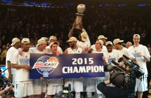 Credit: Barry Holmes/PureSportsNY ... Villanova celebrating its Big East Conference championship