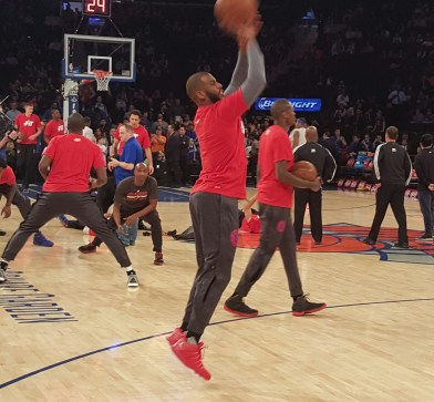 Credit: Barry Holmes/PureSportsNY ... Paul working on his jumper in pre-game warmups.