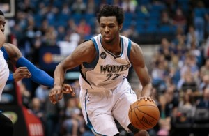 Apr 3, 2016; Minneapolis, MN, USA; Minnesota Timberwolves forward Andrew Wiggins (22) dribbles in the fourth quarter against the Dallas Mavericks at Target Center. The Dallas Mavericks beat the Minnesota Timberwolves 88-78. Mandatory Credit: Brad Rempel-USA TODAY Sports