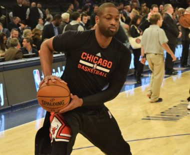 (Photo Credit: Barry Holmes) Wade working on his signature step back in warm-ups
