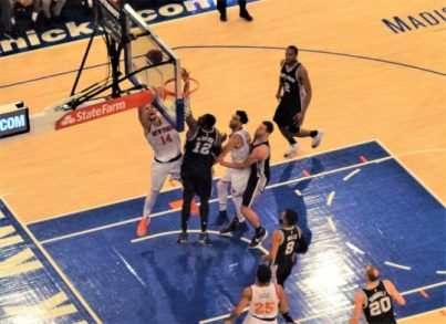 (Photo Credit: Barry Holmes) Hernangomez finishing a tough basket Sunday against the Spurs.