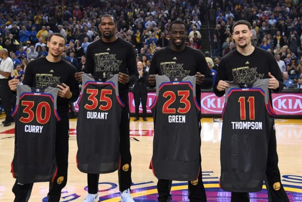 February 15, 2017; Oakland, CA, USA; Golden State Warriors guard Stephen Curry (30), forward Kevin Durant (35), forward Draymond Green (23), and guard Klay Thompson (11) pose with their All-Star jerseys before the game against the Sacramento Kings at Oracle Arena. Mandatory Credit: Kyle Terada-USA TODAY Sports