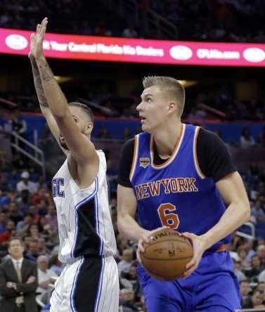 (Photo Credit: John Raoux, AP) Porzingis led Knick scorers Wednesday night.