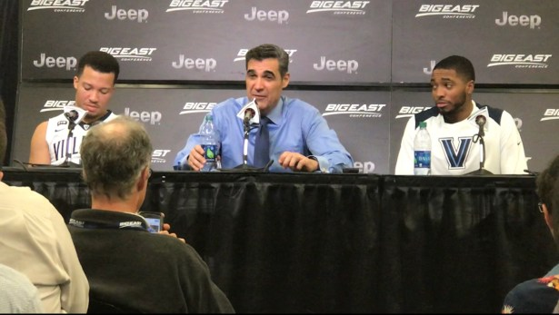 Villanova Wildcats Head Coach Jay Wright addressing the media after a win vs Marquette in the Quaterfinals of the Big East tournament. Photo ATH