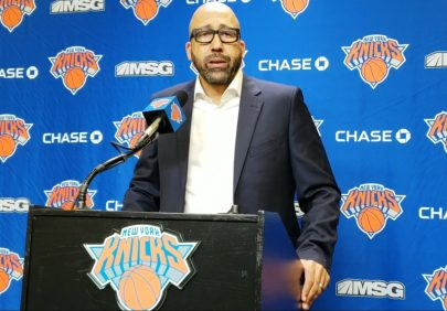 (Photo Credit: Barry Holmes/PureSportsNY) Coach Fizdale spoke on how he was happy with the ball movement on Monday night.