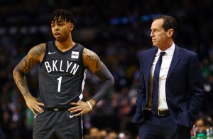 BOSTON, MA - APRIL 11:  Brooklyn Nets head coach Kenny Atkinson talks to D'Angelo Russell #1 of the Brooklyn Nets during a game against the Boston Celtics at TD Garden on April 11, 2018 in Boston, Massachusetts. NOTE TO USER: User expressly acknowledges and agrees that, by downloading and or using this photograph, User is consenting to the terms and conditions of the Getty Images License Agreement. (Photo by Adam Glanzman/Getty Images)