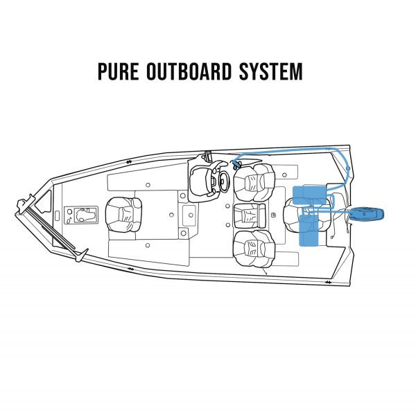 Outline drawing of electric powered fishing boat