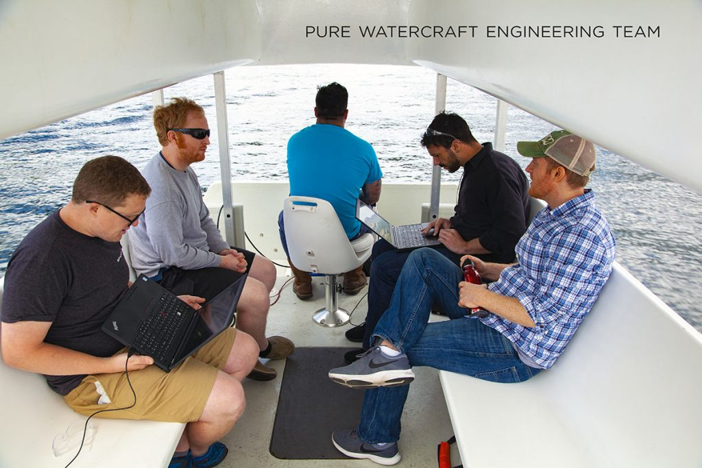 employees working on computers on boat