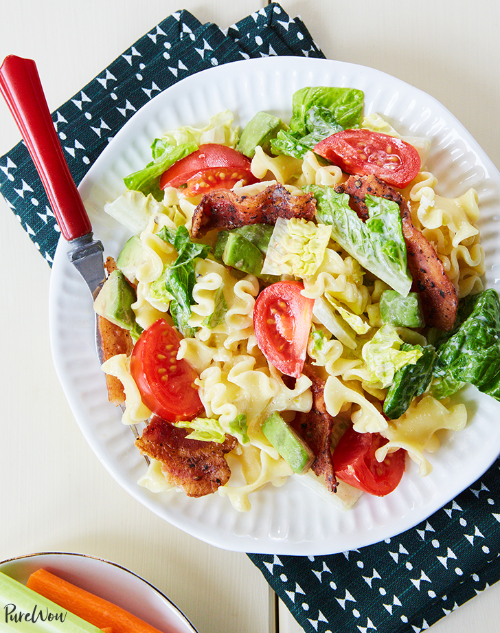 blt pasta salad recipe hero