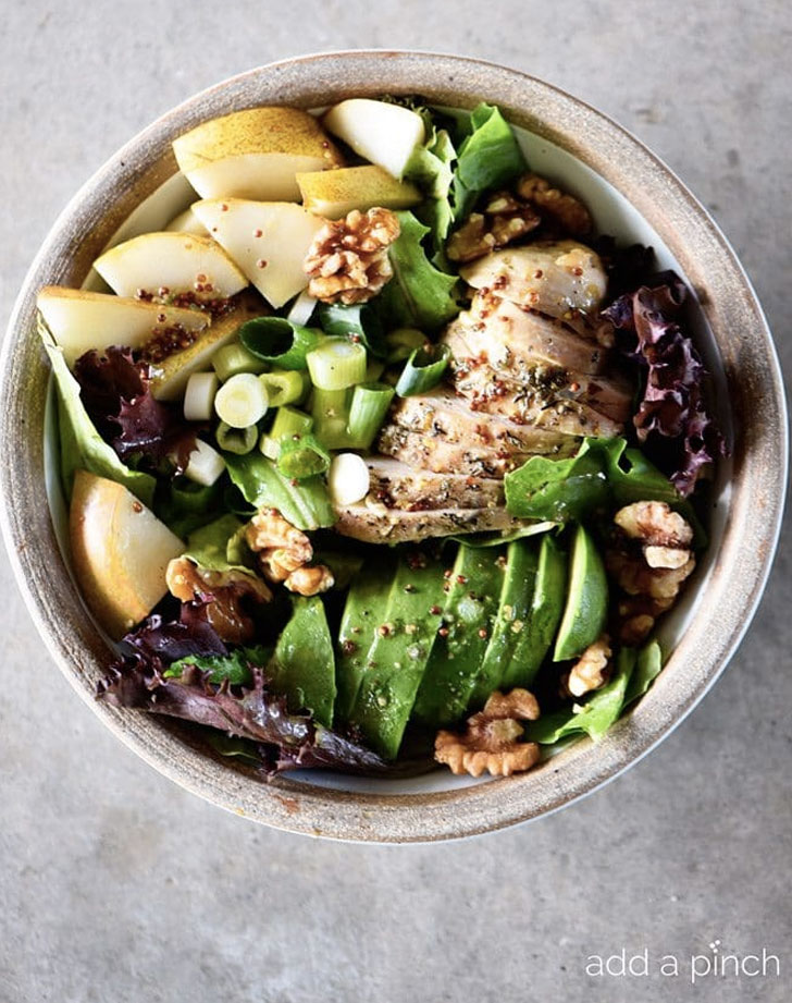 fall chicken avocado and pear salad recipe