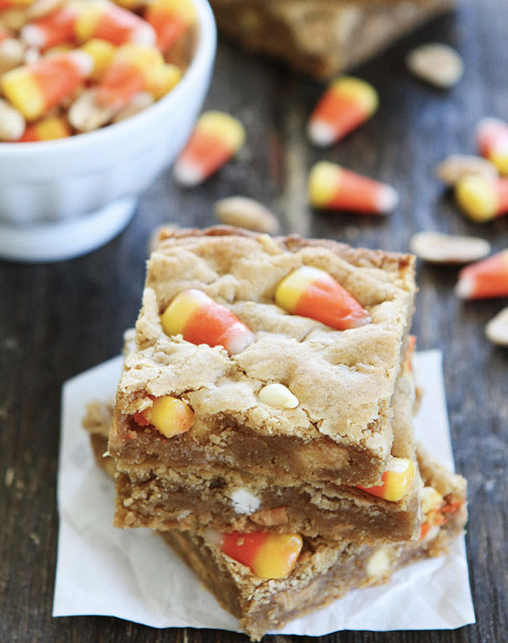 peanut butter candy corn blondies recipe