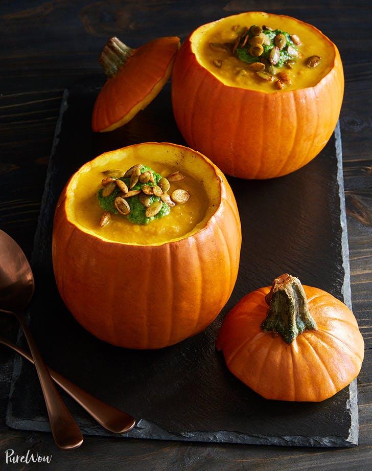 pumpkin soup in pumpkin bowls recipe