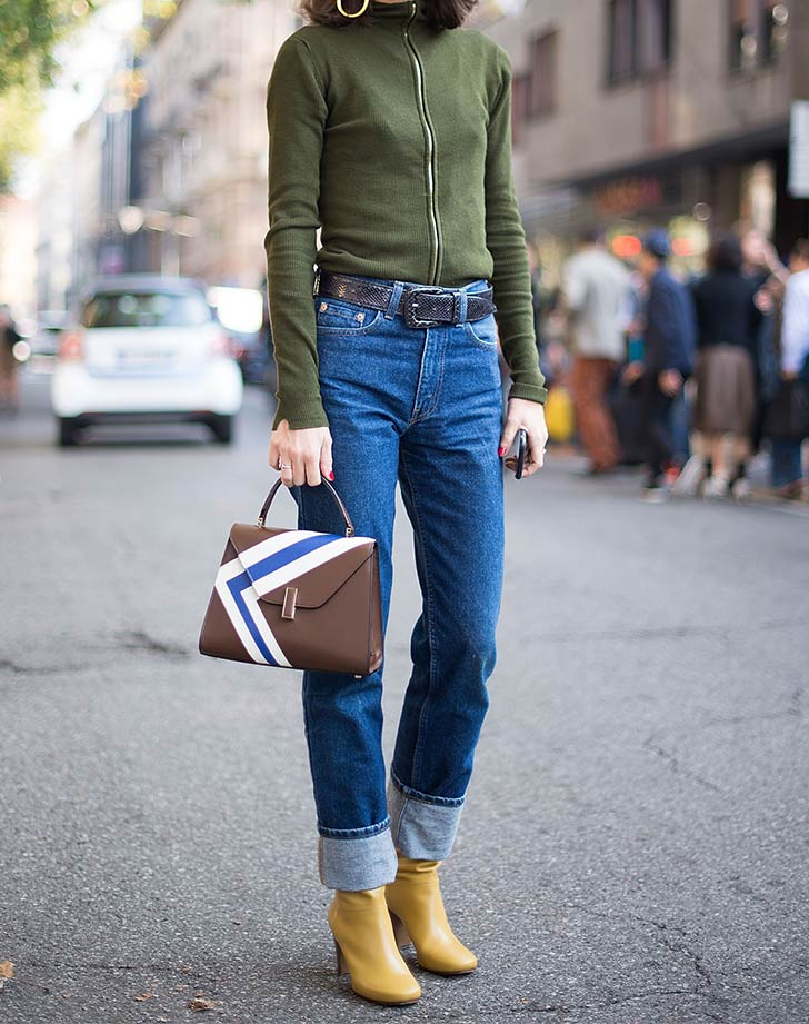 rolled skinny jeans yellow ankle boots