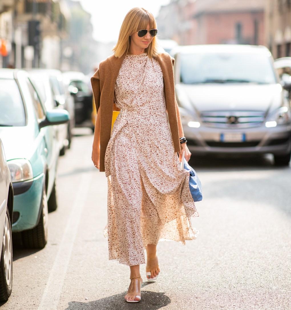 woman wearing a faux wrap dress