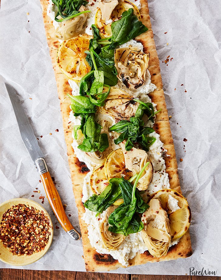Grilled Flatbread Pizza with Artichoke  Ricotta and Lemon