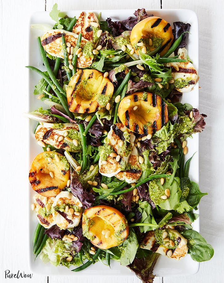 Grilled Peach and Halloumi Salad with Lemon Pesto Dressing