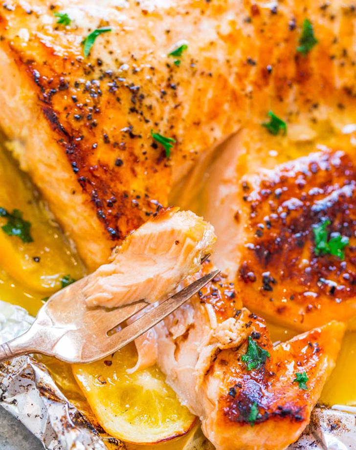 sheet pan garlic lemon butter salmon recipe