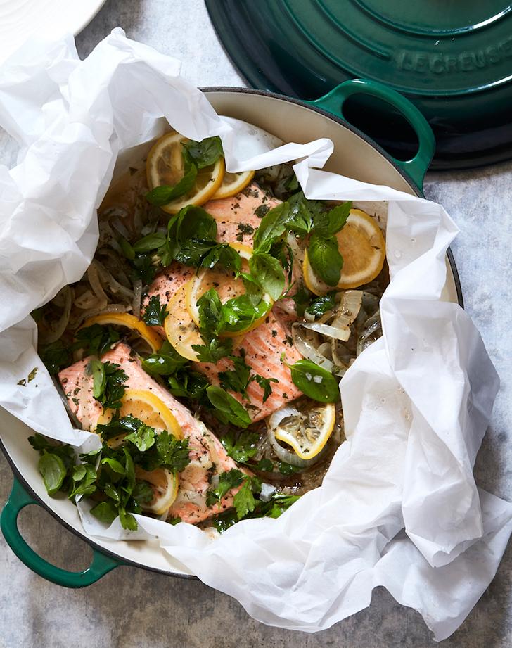 steamed salmon garlic herbs lemon recipe