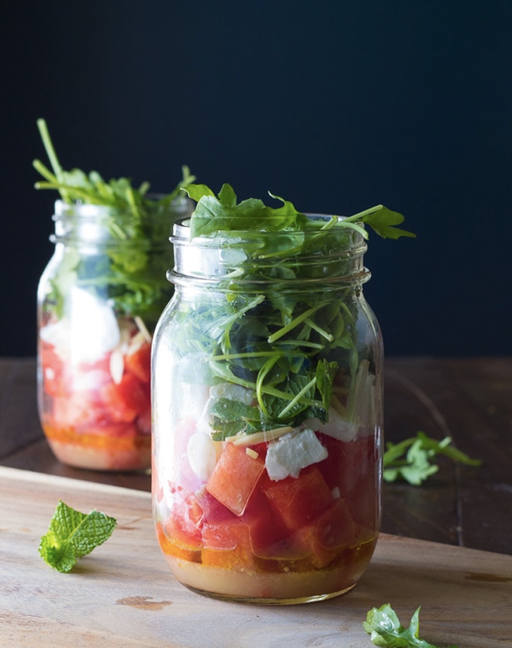 arugula and watermelon salad in a jar recipe